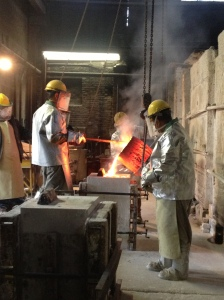 Watching a bronze pour.